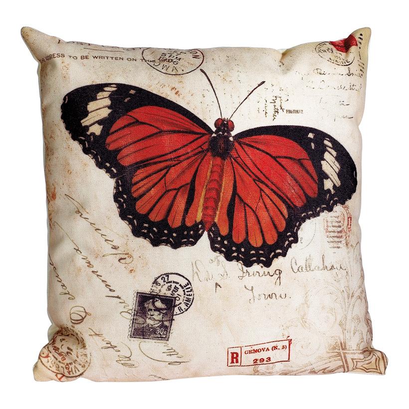 """# Kissen """"Schmetterling"""" 35 x 35 cm aus Leinen inkl. Füllung, Schmetterling: Monarch"""