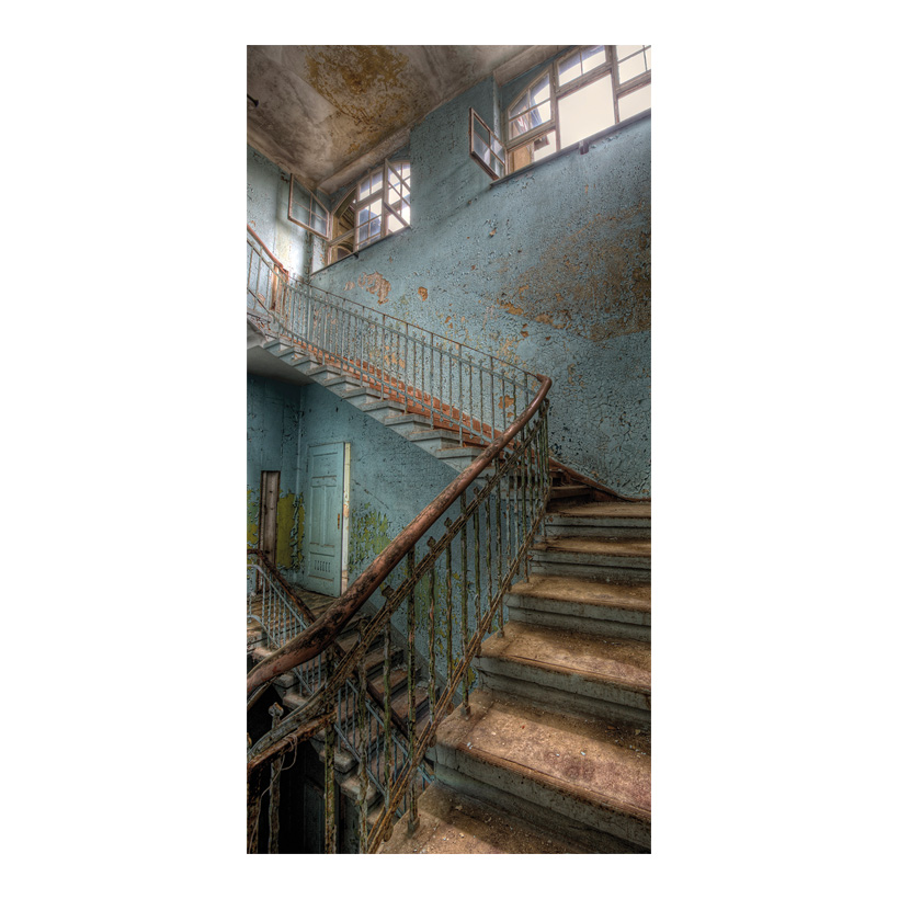 "# Motivdruck ""alte Treppe"", 180x90cm Stoff"