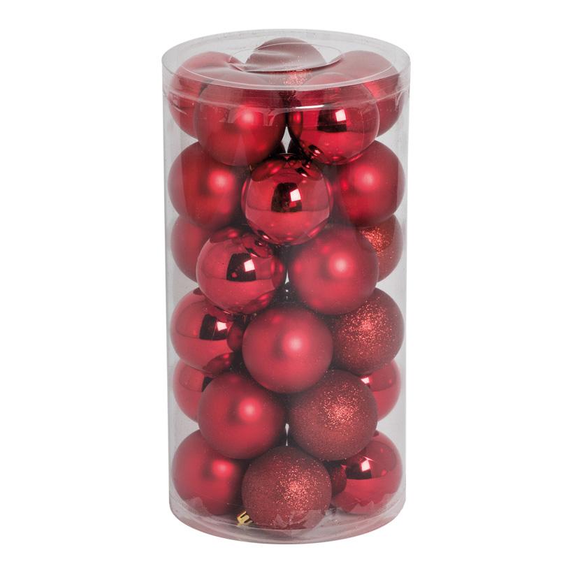 30 Weihnachtskugeln, rot, Ø 6cm 12x glänzend, 12x matt, 6x beglittert