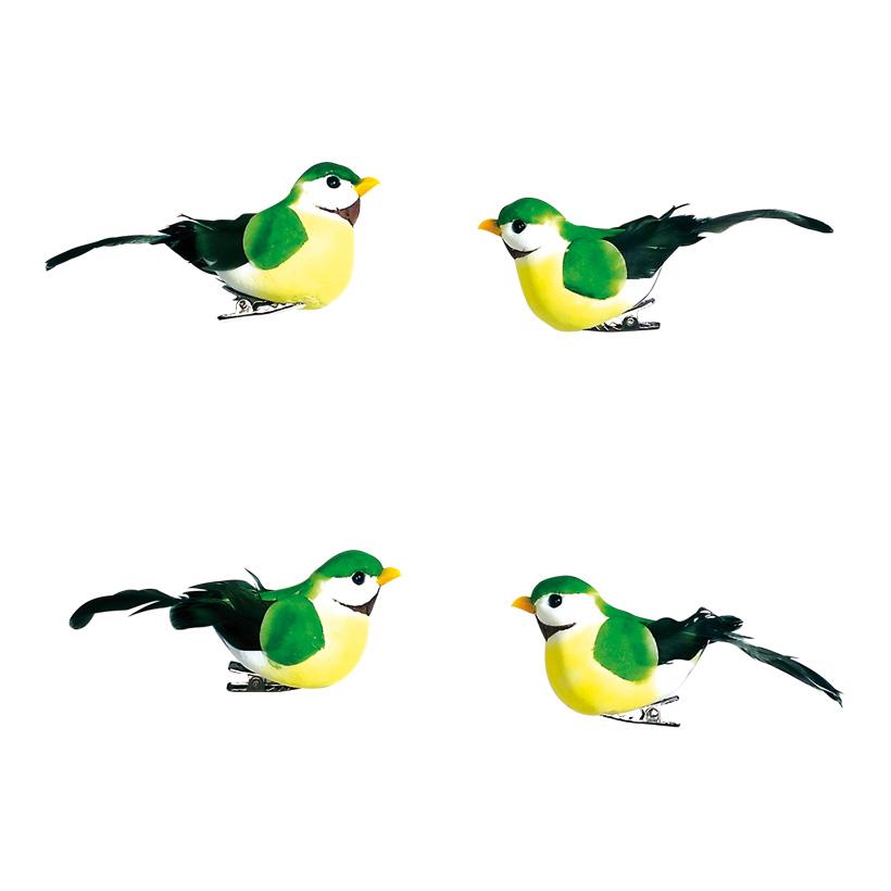 # Vögel 9,5x3,5 x4,5 cm Schaum/Federn, 4 Stk./Satz