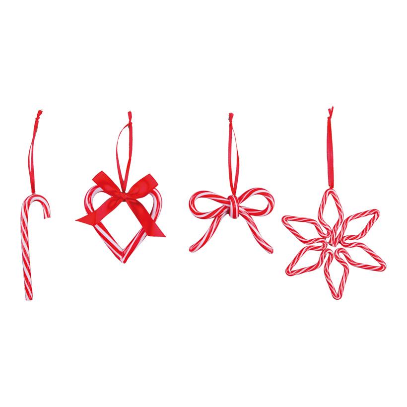 """Baumschmuck-Set """"Candy"""", 7-12cm bestehend aus 4 Ornamenten, je 1 Stern, Herz, Schleife & Zuckerstange, mit Hänger"""